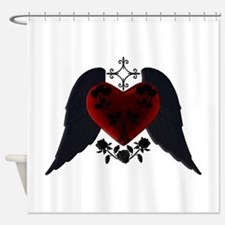 Black Winged Goth Heart Shower Curtain