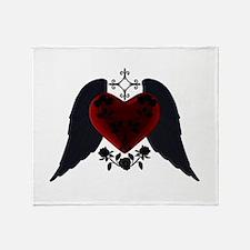 Black Winged Goth Heart Throw Blanket