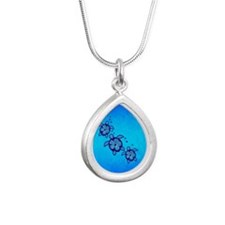 Blue Hibiscus Honu Silver Teardrop Necklace