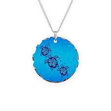 Blue Hibiscus Honu Necklace