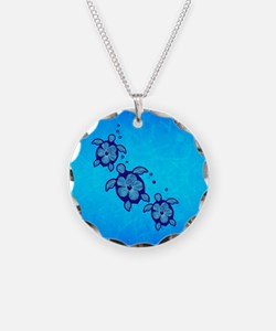 Blue Hibiscus Honu Necklace