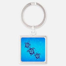 Blue Hibiscus Honu Square Keychain