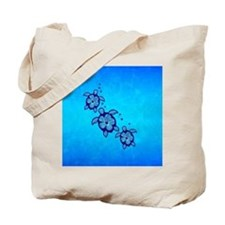Blue Hibiscus Honu Tote Bag
