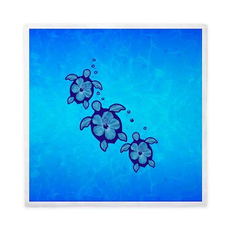 Blue Hibiscus Honu Queen Duvet