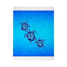 Blue Hibiscus Honu Twin Duvet