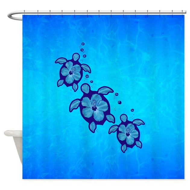 Blue Hibiscus Honu Shower Curtain By Bailoutisland