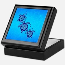 Blue Hibiscus Honu Keepsake Box