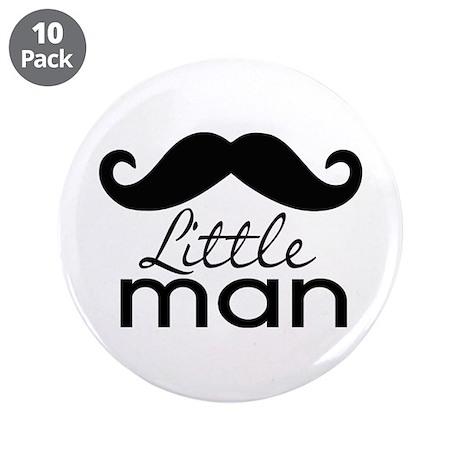 """Mustache Little Man 3.5"""" Button (10 pack)"""