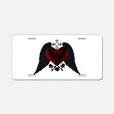 Black Winged Goth Heart Aluminum License Plate