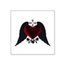 Black Winged Goth Heart Sticker