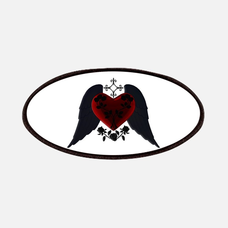 Black Winged Goth Heart Patches