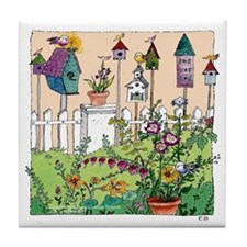 Cynthia Bainton Bird House Garden Tile / Coaster