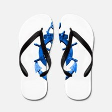 Blue Ship Anchor And Helm Flip Flops