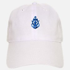Blue Ship Anchor And Helm Baseball Baseball Baseball Cap