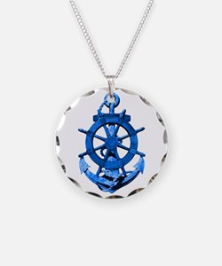 Blue Ship Anchor And Helm Necklace