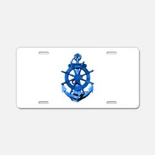 Blue Ship Anchor And Helm Aluminum License Plate