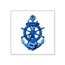 Blue Ship Anchor And Helm Sticker