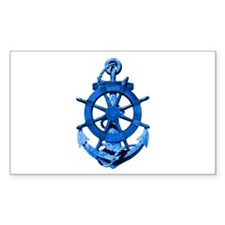 Blue Ship Anchor And Helm Decal