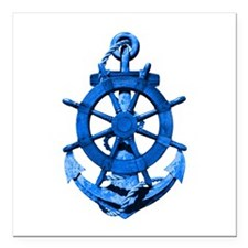 """Blue Ship Anchor And Helm Square Car Magnet 3"""" x 3"""