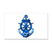 Blue Ship Anchor And Helm Rectangle Car Magnet
