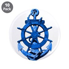 """Blue Ship Anchor And Helm 3.5"""" Button (10 pack)"""