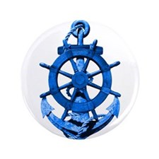 """Blue Ship Anchor And Helm 3.5"""" Button"""
