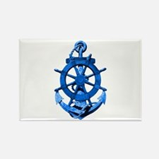 Blue Ship Anchor And Helm Rectangle Magnet (100 pa