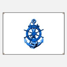 Blue Ship Anchor And Helm Banner