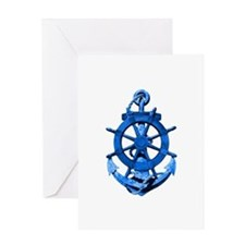 Blue Ship Anchor And Helm Greeting Card
