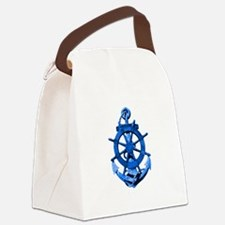 Blue Ship Anchor And Helm Canvas Lunch Bag