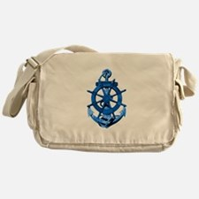 Blue Ship Anchor And Helm Messenger Bag