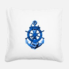 Blue Ship Anchor And Helm Square Canvas Pillow