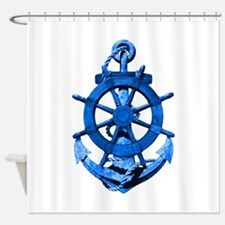 Blue Ship Anchor And Helm Shower Curtain