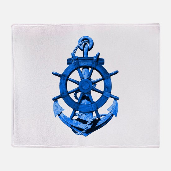 Blue Ship Anchor And Helm Throw Blanket