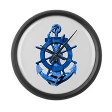 Blue Ship Anchor And Helm Large Wall Clock