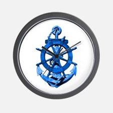 Blue Ship Anchor And Helm Wall Clock