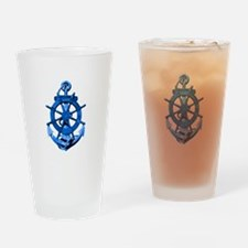 Blue Ship Anchor And Helm Drinking Glass