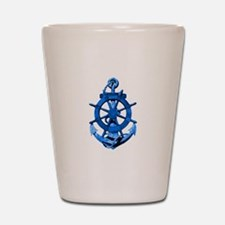 Blue Ship Anchor And Helm Shot Glass