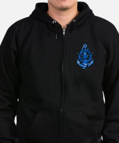 Blue Ship Anchor And Helm Zip Hoodie