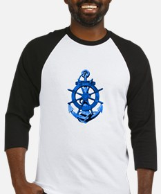 Blue Ship Anchor And Helm Baseball Jersey