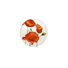 Poppies (orange) Mini Button (10 pack)