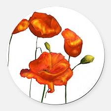 Poppies (orange) Round Car Magnet