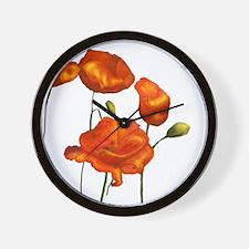 Poppies (orange) Wall Clock