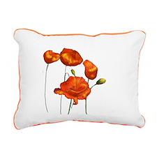Poppies (orange) Rectangular Canvas Pillow