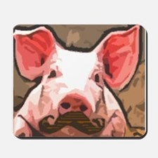 Charming Pig With Mustache Mousepad