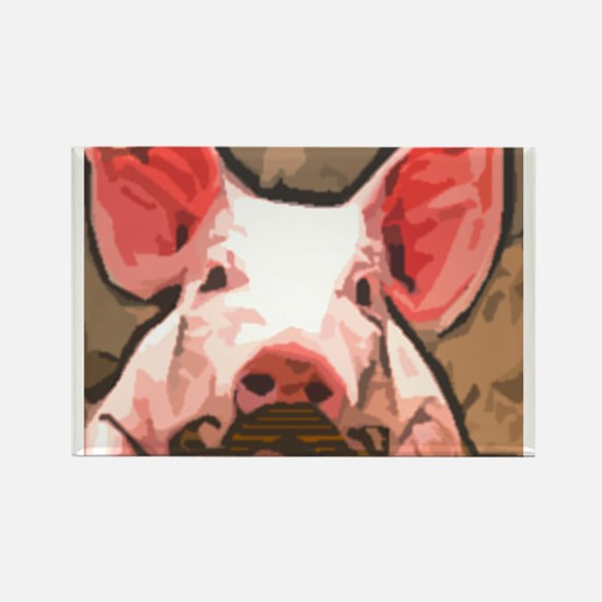 Charming Pig With Mustache Rectangle Magnet