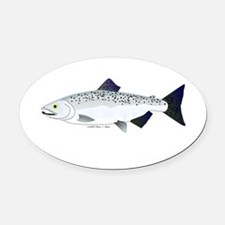 Chinook King Salmon f Oval Car Magnet
