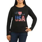 God Bless the USA Women's Long Sleeve Dark T-Shirt