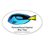 Blue Tang Oval Sticker
