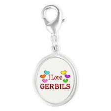 I Love Gerbils Silver Oval Charm